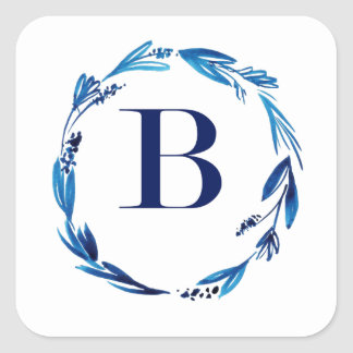 Blue Floral Wreath 'B' Square Sticker