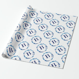Blue Floral Wreath 'B' Wrapping Paper