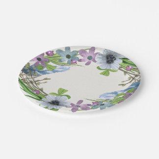 Blue Floral Wreath Paper Plate