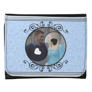Blue Floral Yin & Yang Custom Photo Wallet