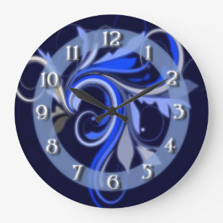 Blue Flourish Large Clock