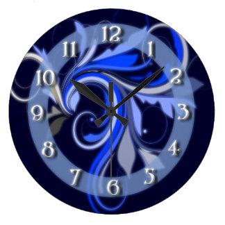Blue Flourish Large Clock