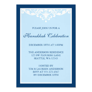 Blue Flourish Scroll Hanukkah Holiday Party Card
