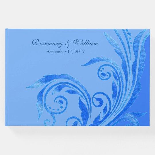 Blue Flourish Wedding Guest Book