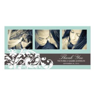 BLUE FLOURISH   WEDDING THANK YOU CARD PHOTO CARDS