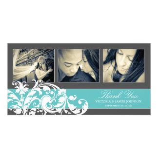 BLUE FLOURISH WEDDING THANK YOU CARD PICTURE CARD