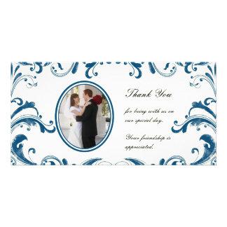 Blue Flourishes Photo Card