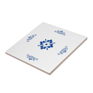 blue flower arrangement in traditional tile design