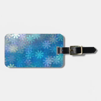 Blue flower background pattern art blurred luggage tag