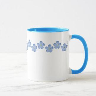 Blue Flower Border Mug