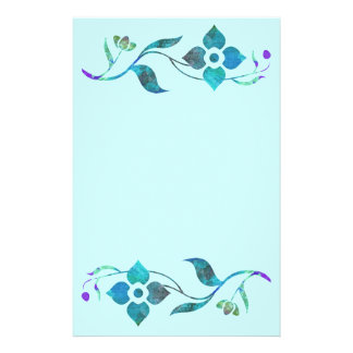Blue Flower Border Stationery