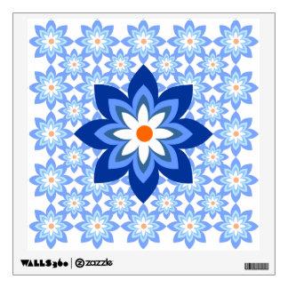 Blue Flower Border Wall Sticker