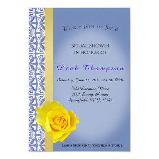 Blue Flower Border&Yellow Rose Bridal Shower Card