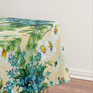 Blue Flower Bouquets with Daisies and Clover Tablecloth