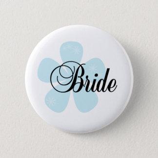 Blue Flower Bride 2 Inch Round Button