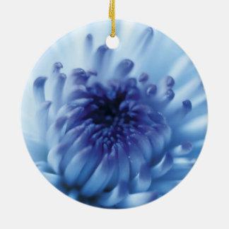 Blue flower Close Up Round Ceramic Ornament