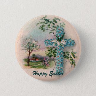 Blue Flower Cross Easter Button