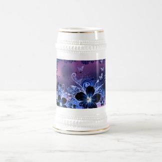 Blue Flower design Beer Stein