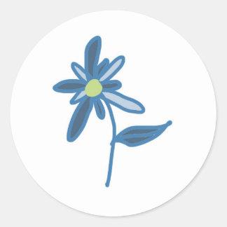 Blue Flower Design Classic Round Sticker