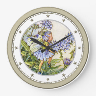 Blue Flower Fairy Large Clock