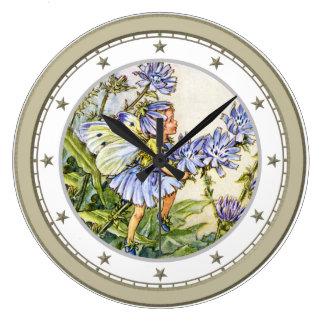 Blue Flower Fairy Wall Clocks
