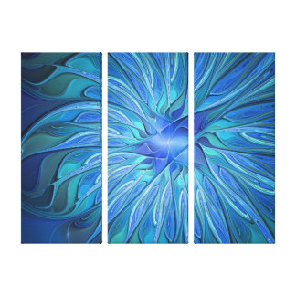 Blue Flower Fantasy Pattern Abstract Art Triptych Canvas Print