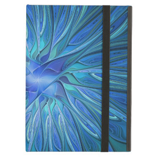Blue Flower Fantasy Pattern, Abstract Fractal Art iPad Air Cases