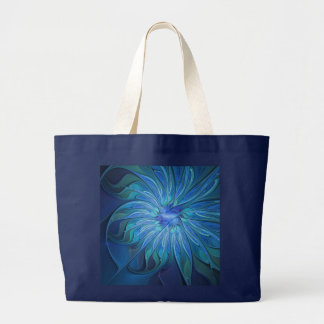 Blue Flower Fantasy Pattern, Abstract Fractal Art Large Tote Bag