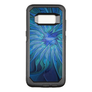 Blue Flower Fantasy Pattern, Abstract Fractal Art OtterBox Commuter Samsung Galaxy S8 Case