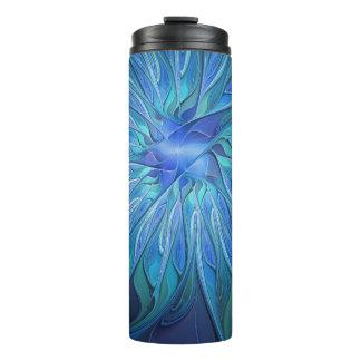 Blue Flower Fantasy Pattern, Abstract Fractal Art Thermal Tumbler