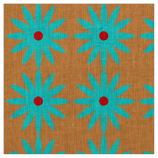Blue Flower Floral Pattern Light Orange Background Fabric
