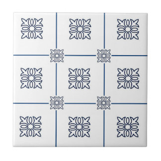 blue flower gridded traditional tile design