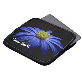Blue Flower on Black Personalized Laptop Sleeve