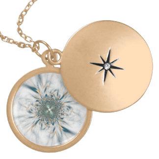 Blue Flower on glass Locket Necklace