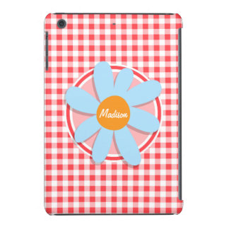 Blue Flower on Red and White Gingham iPad Mini Case