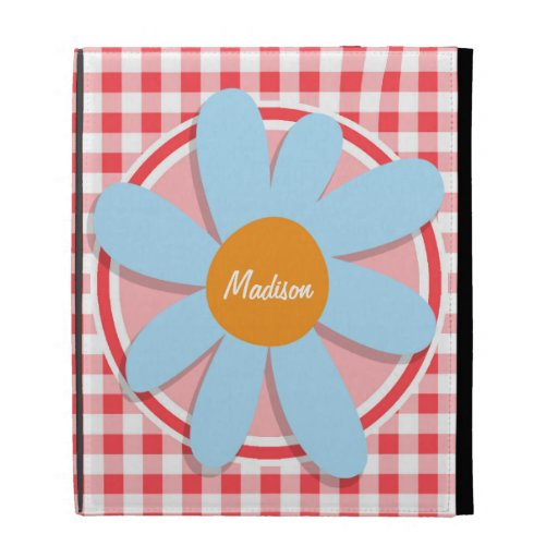 Blue Flower on Red and White Gingham iPad Folio Case