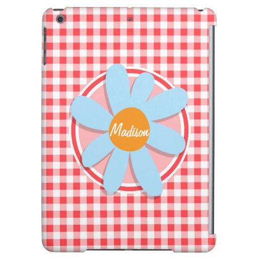 Blue Flower on Red and White Gingham iPad Air Covers
