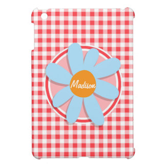 Blue Flower on Red and White Gingham iPad Mini Covers
