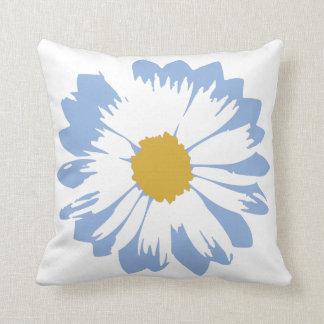 Blue Flower on White Pillow