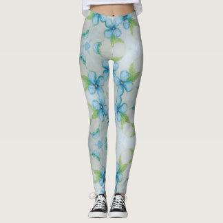 Blue flower  Pansy pattern Leggings