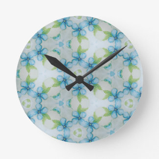 blue flower  Pansy pattern Round Clock