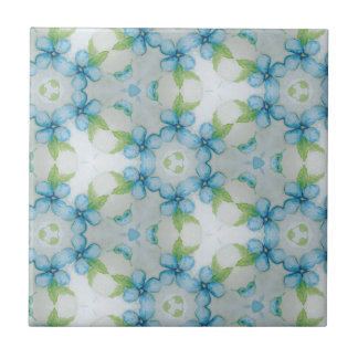 blue flower  Pansy pattern Tile