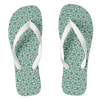 Blue flower pattern flip flops