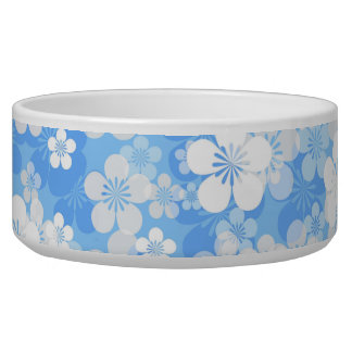 Blue Flower Pattern Large Pet Bowl