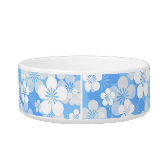 Blue Flower Pattern Medium Pet Bowl