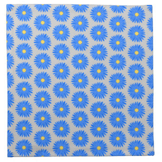 Blue Flower Pattern on Gray. Napkin