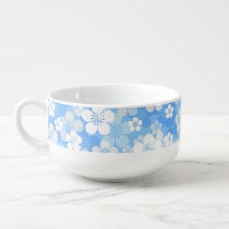 Blue Flower Pattern Soup Mug