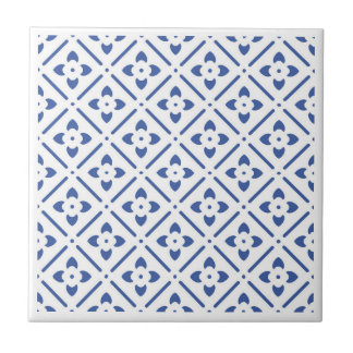 blue flower patterned traditional wall tile design