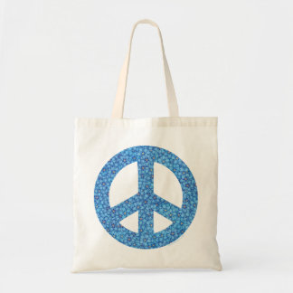 Blue Flower Peace Budget Tote Bag
