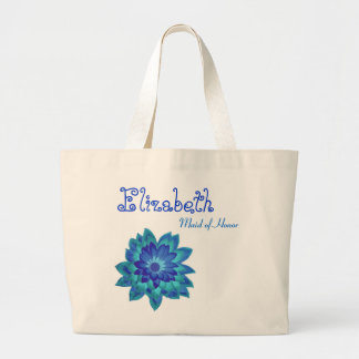 Blue Flower Personalized Maid of Honor Large Tote Bag